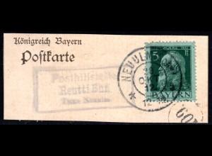 Bayern 1912, Posthilfstelle REUTTI Bhf.Taxe Neu Ulm auf Briefstück m. 5 Pf.
