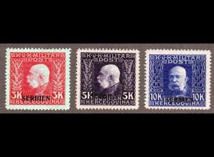 Österreich Feldpost Serbien 19-21, 3 ungebr. Höchstwerte 3,5 u. 10 K.