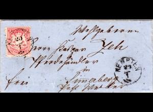 Bayern 1874, Zier-K1 KEMPTEN Typ 2 klar auf schönem Brief m. 3 Kr. Geprüft.