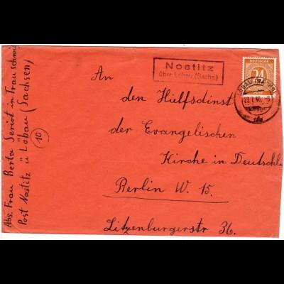 1946, Landpost Stpl. NOSTITZ über Löbau auf Brief m. 24 Pf.