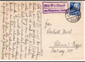 SBZ 1949, Landpost Stpl. WEISSBACH über Wiesenburg auf Karte m. 12 Pf.