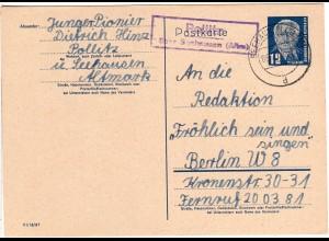 DDR 1955, Landpost Stpl. POLLITZ über Seehausen auf 12 Pf. Ganzsache.