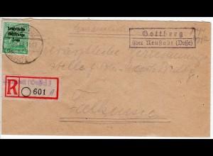 SBZ 1946, Landpost Stpl. GOTTBERG über Neustadt auf Einschreiben Brief m. 84 Pf.