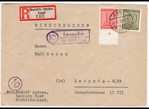 SBZ 1946, Landpost Stpl. LEUPAHN über Rochlitz auf Reko Brief m. 12+30 Pf.