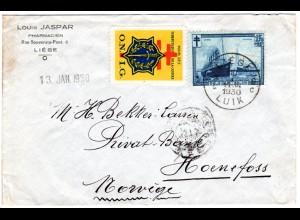 Belgien 1930, 1,75 Fr. Zuschlags- u. Tubekulosemarke auf Brief n. Norwegen