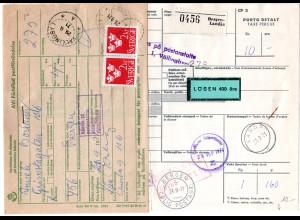 Norwegen 1971, Paketkarte v. Bergen Landas m. Schweden Porto u. Zollgebühr