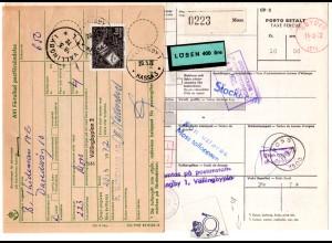 Norwegen 1972, Paketkarte v. Moss m. Schweden 4 Kr. Porto u. Zollgebühr