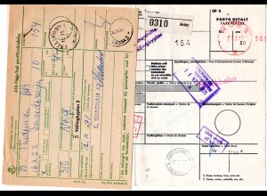 Norwegen 1971, Paketkarte v. Jeloy m. Schweden 4 Kr. Porto u. Zollgebühr