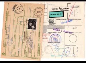 Norwegen 1972, Paketkarte v. Oslo m. Schweden 4 Kr. Porto u. Zollgebühr