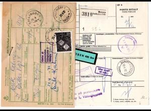 Norwegen 1972, Paketkarte v. Bergen Solheimsvik m. Schweden Porto u. Zollgebühr