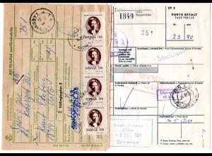 Schweden 1971, Norwegen Paketkarte m. MeF 4x1 Kr. Porto u. Zollgebühr
