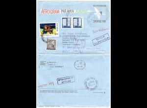Schweden 1978, Aerogramm m. Indien Marken f. Nachsendung n. St. Barthelemy