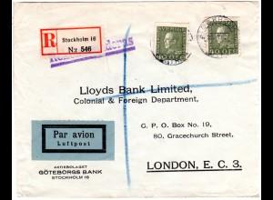 Schweden 1931, MeF 2x40 öre auf Luftpost Einschreiben Brief n. GB