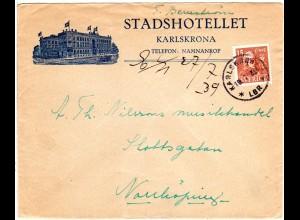 Schweden 1939, Karlskrona Hotel Brief m. 15 öre