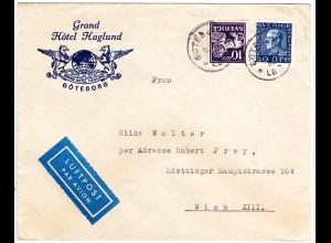 Schweden 1938, 10+30 öre auf Hotel Luftpost Brief v. Göteborg n. Österreich