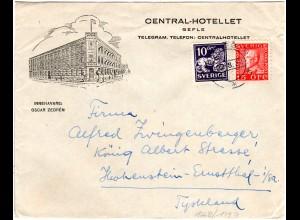 Schweden 1934, 10+15 öre auf Hotel Brief v. Gefle n. Deutschland