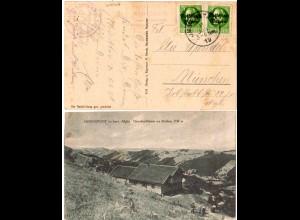 Bayern 1919, Posthilfstelle ALMAGMACH Taxe Immenstadt auf sw-AK m. 2x5 Pf.