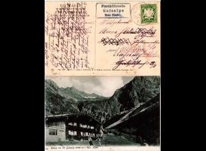 Bayern 1909, Posthilfstelle GAISALPE Taxe Fischen auf entsprechender AK m. 5 Pf.