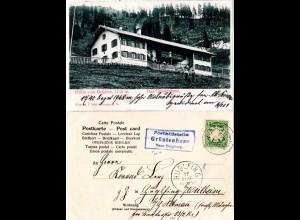 Bayern 1904, Posthilfstelle GRÜNTENHAUS Taxe Burgberg auf entspr. AK m. 5 Pf.