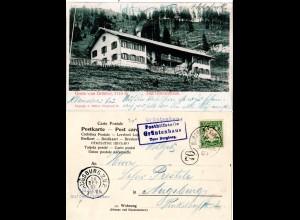 Bayern 1903, Posthilfstelle GRÜNTENHAUS Taxe Burgberg auf entspr. AK m. 5 Pf.