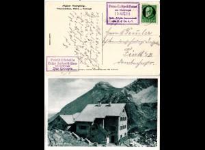 Bayern 1918, Posthilfstelle PRINZ-LUITPOLD-HAUS Taxe Hinterstein auf AK m. 5 Pf.