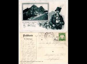 Bayern 1907, Posthilfstelle PRINZ-LUITPOLD-HAUS Taxe Oberdorf auf AK m. 5 Pf.