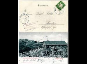 Bayern 1902, Posthilfstelle PRINZ-LUITPOLD-HAUS Taxe Bad Oberdorf auf AK m. 5 Pf