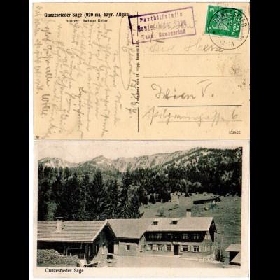 DR 1927, Posthilfstelle GUNZESRIEDER SÄGE Taxe Gunzesried auf sw-AK m. 5 Pf.