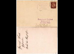 DR 1929, Posthilfstelle STEIBIS auf Privat-Ganzsache m. Betreiber-Unterschrift