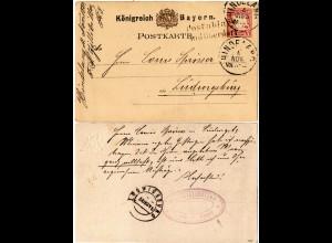 Bayern 1882, L2 POSTABLAGE BAD OBERDORF auf Ga. über Hindelang n. Württemberg