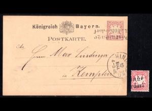 Bayern 1882, L2 POSTABLAGE BAD OBERDORF auf Ganzsache und loser 10 Pf.-Marke