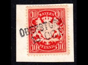 Bayern, L2- Aushilfstempel OBERSTORF auf Briefstück m. 10 Pf.