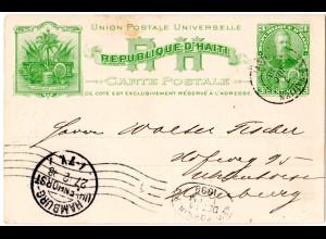 Haiti 1898, gebr. 3 C. Ganzsache m. Thematik-Abb. Musik, Palme, Anker, Kanone