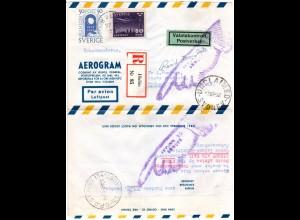 Schweden 1952, 30+50 öre auf Reko-retour Aerogramm v. HULAN n. Australien