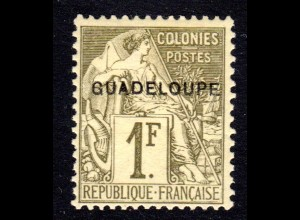 Guadeloupe 24*, ungebr. 1 Fr., sauber m. Originalgummi u. Erstfalz