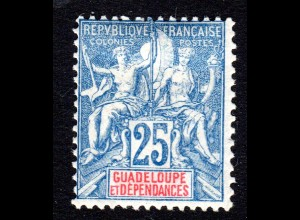 Guadeloupe 43*, ungebr. 25 C., sauber m. Originalgummi u. Erstfalz