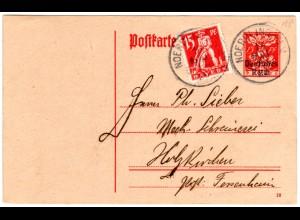 Bayern 1920, Mischfr. 15 Pf. Abschied auf 15 Pf. DR Ganzsache v. Nördlingen.