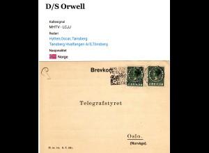 NL 1937, 2x5 C. auf Norwegen Radiotelegrafist Karte Schiff S/S Orwell