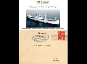 Argentinien 1936, 10 C. auf Norwegen Radiotelegrafist Karte Schiff M/S Heranger