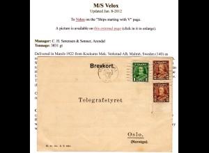 Canada 1936, 1+2x2 C. auf Norwegen Radiotelegrafist Karte Schiff M/S Velox