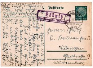 DR 1938, Landpost Stpl. LÖBNITZ über Damgarten Vorpommern auf 6 Pf. Ganzsache