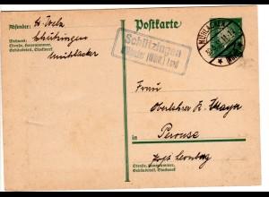 DR 1931, Landpost Stpl. SCHÜTZINGEN Mühlacker (Württ.) Land auf 8 Pf. Ganzsache
