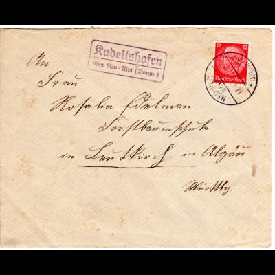 DR 1937, Landpost Stpl. KADELTSHOFEN über Neu-Ulm auf Brief m. 12 Pf.