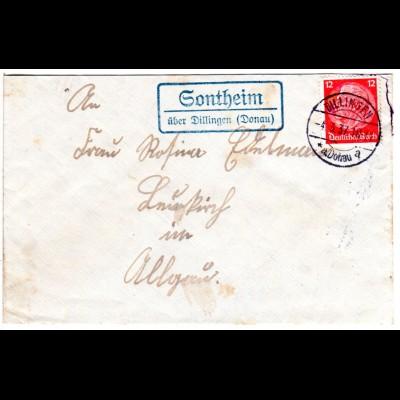 DR 1937, Landpost Stpl. SONTHEIM über Dillingen auf Brief m. 12 Pf.