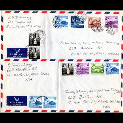 Trinidad & Tobago 1967, 12 Marken auf 2 Luftpost Briefen n. USA