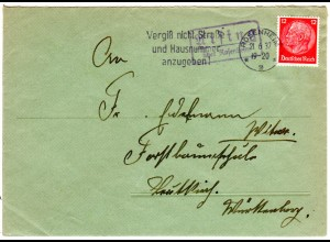 DR 1937, Landpost Stpl. AISING über Rosenheim auf Brief m. 12 Pf.