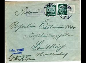 DR 1937, Landpost Stpl. AISING über Rosenheim auf Brief m. 2x6 Pf.