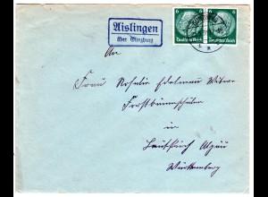 DR 1936, Landpost Stpl. AISLINGEN über Günzburg auf Brief m. 2x6 Pf.