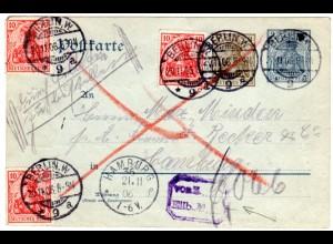 DR 1906, 3x10 Pf. Zusatzfr. auf 2+3 Pf. Germania Ganzsache v. Berlin m. Zug-Stpl