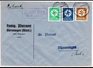 DR 1942, Landpost Stpl. Streichen ü. Balingen auf Brief m. 3+4+5 Pf. Dienst